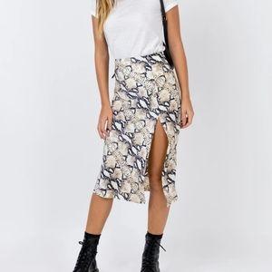 Princess Polly Snakeskin Midi skirt with slip